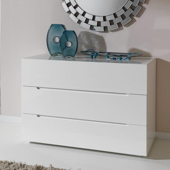 Commode adulte design blanc laqué EMIRA Blanc