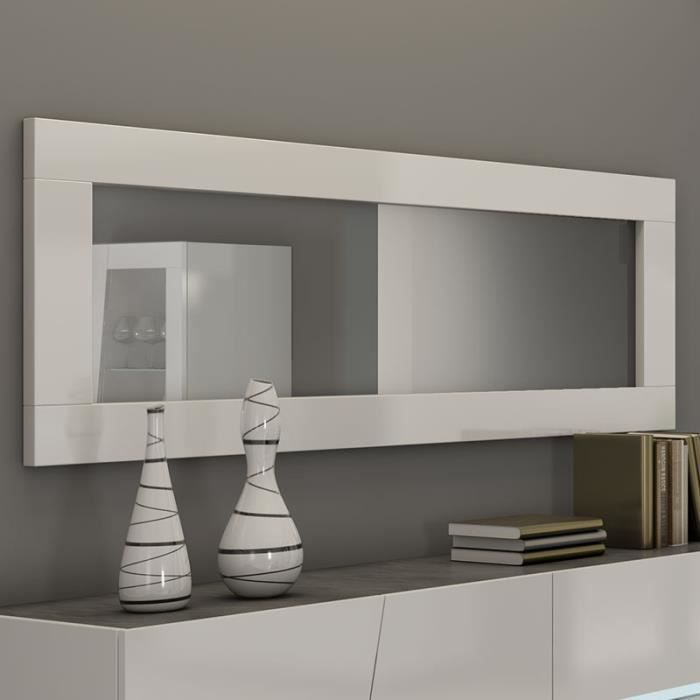 Grand miroir mural blanc laqué design JOSHUA L 180 x P 4 x H 57 cm Blanc