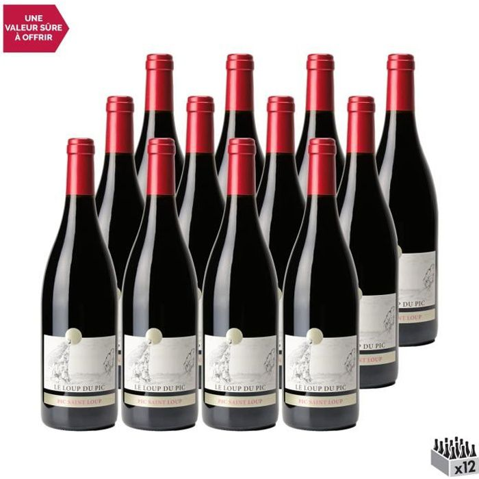 Château Puech Haut Pic Saint-Loup Le loup du Pic Rouge 2019 - Lot de 12x75cl - Vin AOC Rouge du Languedoc - Roussillon