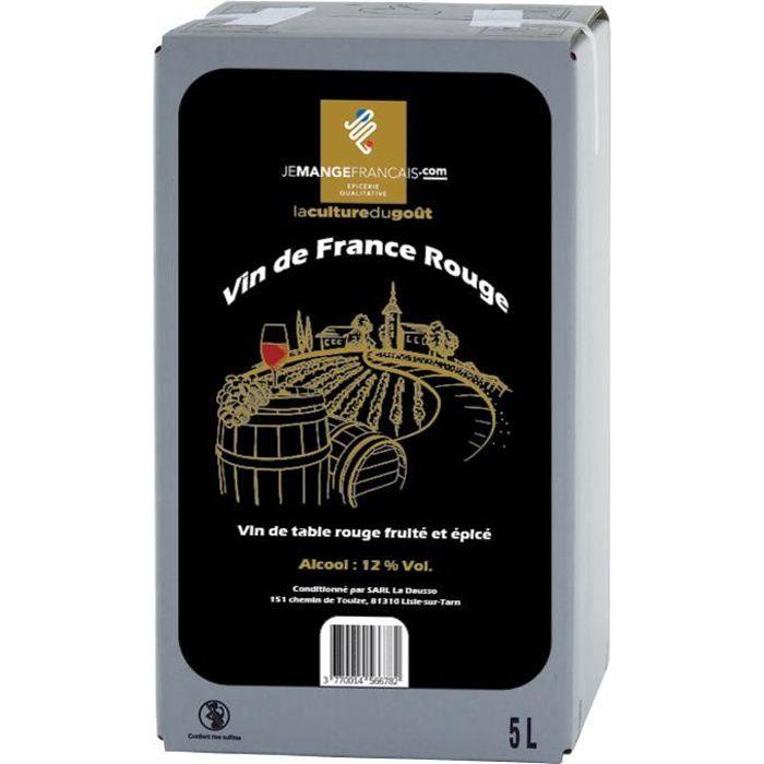 Vin de Table Rouge en Cubi 5 litres - Vin de France