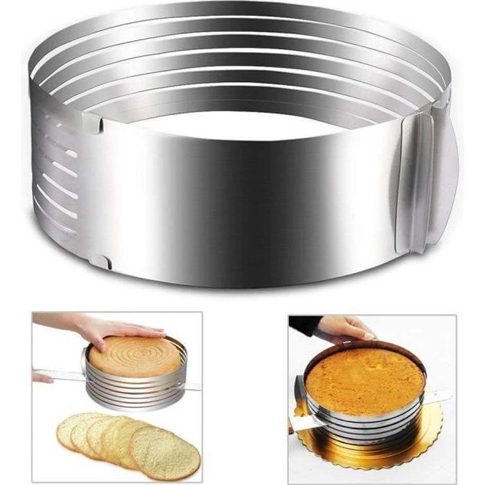 réglable en acier inoxydable mousse Moule à gâteau de couche trancheuse kit Argent, diamètre 16-20cm