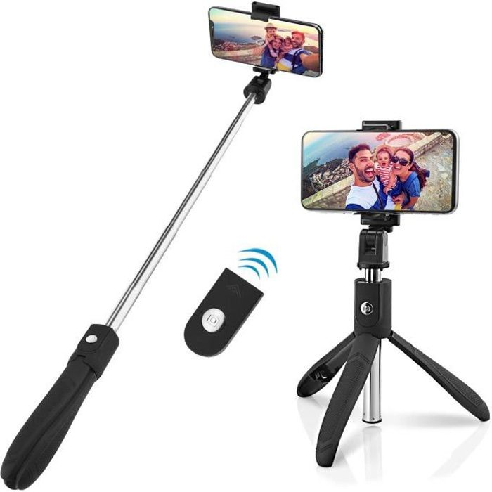 Perche Selfie Trépied avec Télécommande pour iPhone , Samsung Galaxy, Android Smartphones 3 en 1 Extensible Poche Selfie Stick Alum