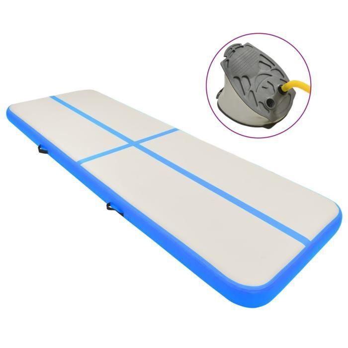 Tapis de Gymnastique Gonflable- Gonflable Air Track pour Gymnaste Tumbling Yoga - avec pompe 300x100x20cm PVC Bleu♫3352♫1038