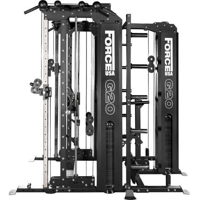 G20 Station de Musculation , Smith Machine, Rack à Squat, Vertical Leg Press, Lat Pull Down et Low Row Force USA