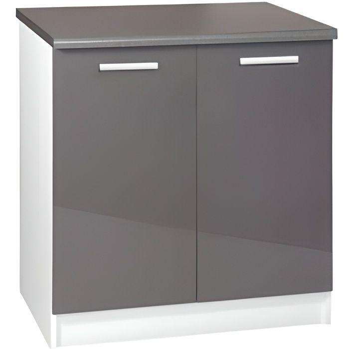 Meuble cuisine bas 80 cm 2 portes TARA gris