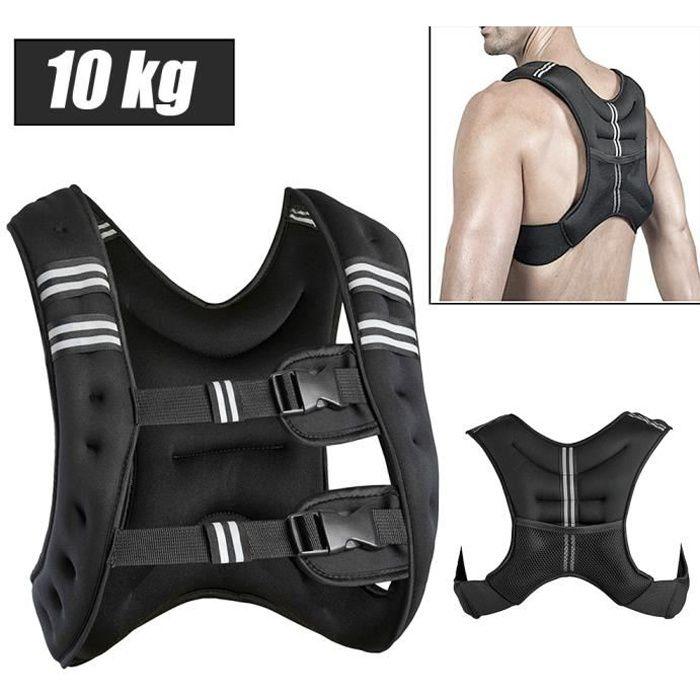 Gilet de Musculation 10 Kg- Fitness Sport Noir NOIR