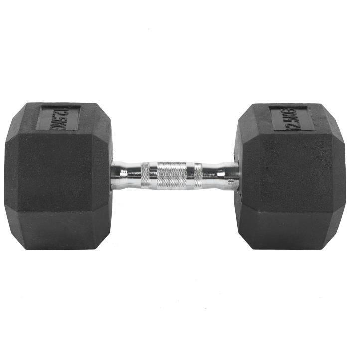 Haltères hexagone en Caoutchouc et Fer /Dumbbell 2 x 12,5KG / Musculation Fitness pour Homme et Femme
