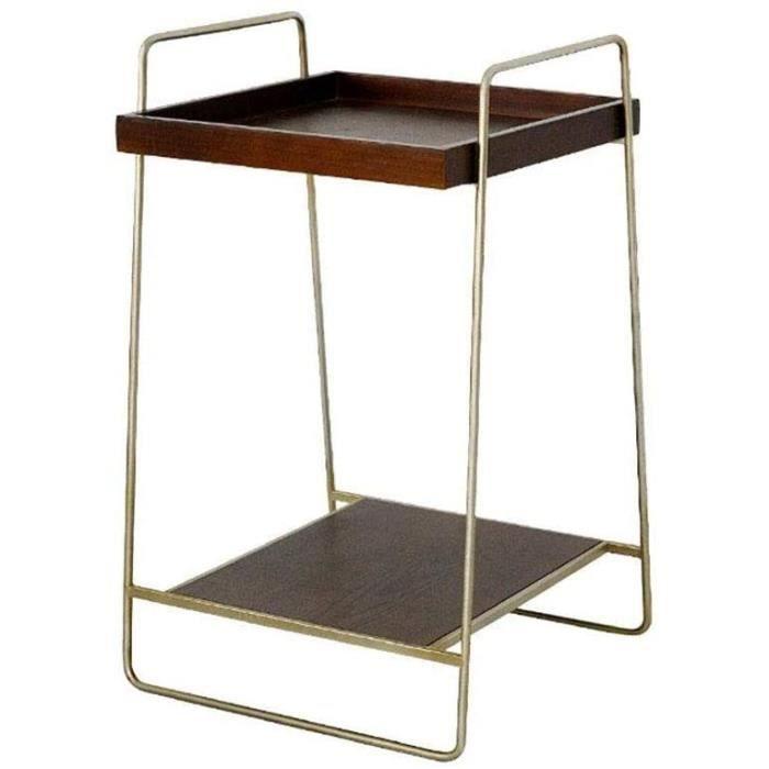Tables basses de jardin Hammer Simple Light Luxury Sofa Cabinet de côté, Double Tablette latérale en Rack Salon Fer Forg 148695