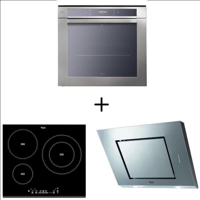 WHIRLPOOL AKZM6690IXL - Four électrique + WHIRLPOOL ACM860BF-Table de cuisson - WHIRLPOOL AKR808/1IX Hotte décorative