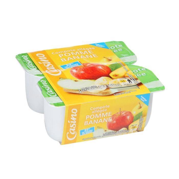 Lot de 4 Compotes allégées de pomme et banane - 400 g