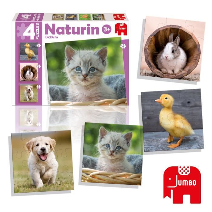 DISET 4 Puzzles Animaux Naturin Photo