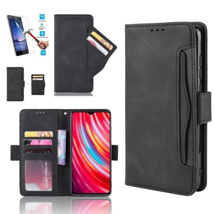 Etui Xiaomi Mi Note 10 Lite Portefeuille Noir + Film Verre Trempé Coque Housse En Cuir Pu - 5 Emplacement Carte hfs-house®