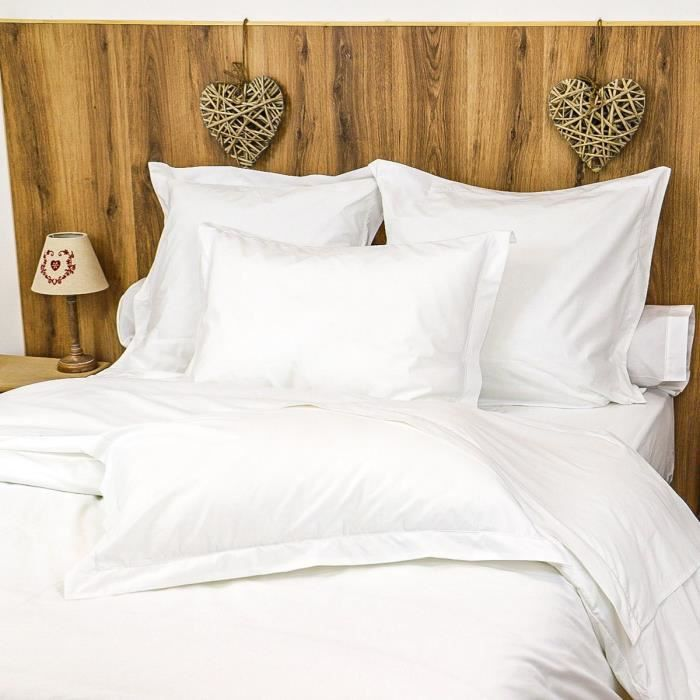 LINANDELLE - Parure housse de couette coton Percale 200 fils DESIREE - Blanc - 220x240 cm