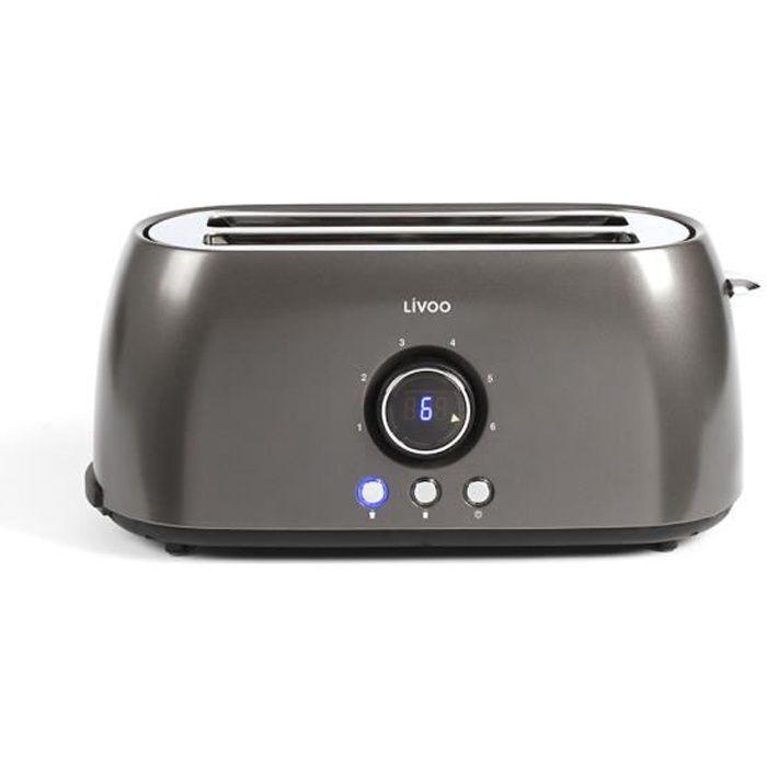 LIVOO DOD178 Grille-pain à affichage digital - 1400W - 2 fentes - Gris
