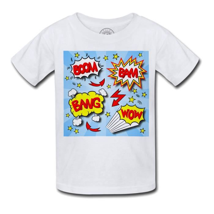 T-shirt Enfant Bulles Bandes Dessinees Boom Bang Comics Super Hero