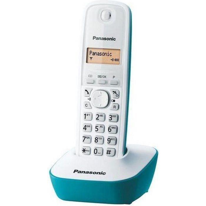 Panasonic KX-TG1611FRC Solo Téléphone Sans Fil Sans Répondeur Blanc Bleu