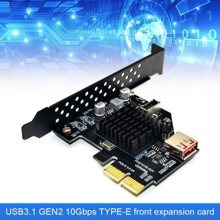 Carte d'extension avant USB3.1 TYPE-E Adaptateur Pcie X2 vers TYPE-C GEN2 10 Gbit / s