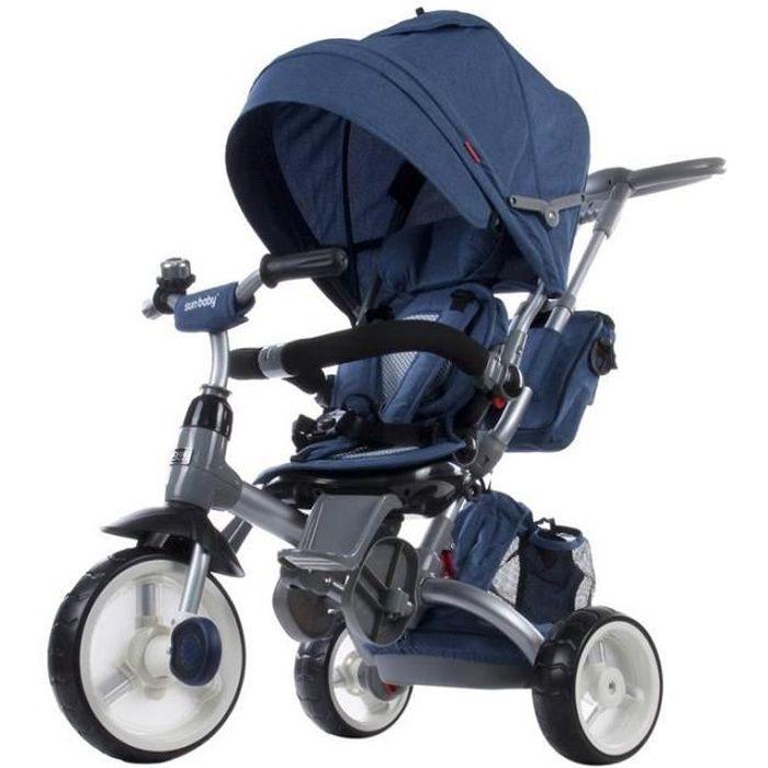 Tricycle évolutif bébé/enfant 1-3 ans - Little Tiger - Bleu foncé Bleu Foncé