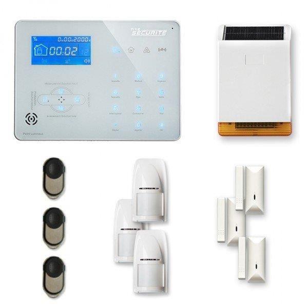 Alarme maison sans fil ICE-B 3 à 4 pièces mouvement + intrusion + sirène extérieure solaire - Compatible Box internet