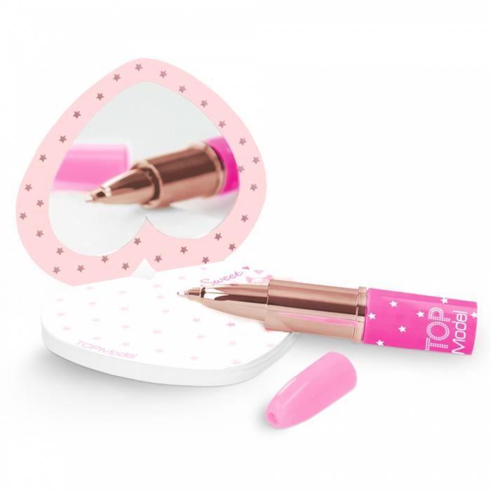 Top Model set d'écriture rouge à lèvres filles 13 cm rose 2-pièces