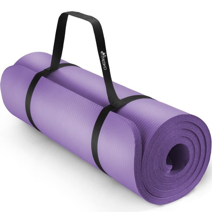 TRESKO Tapis d'exercice fitness yoga pilates gym, en Mousse NBR (185 x 60 x 1,5cm) Pourpe