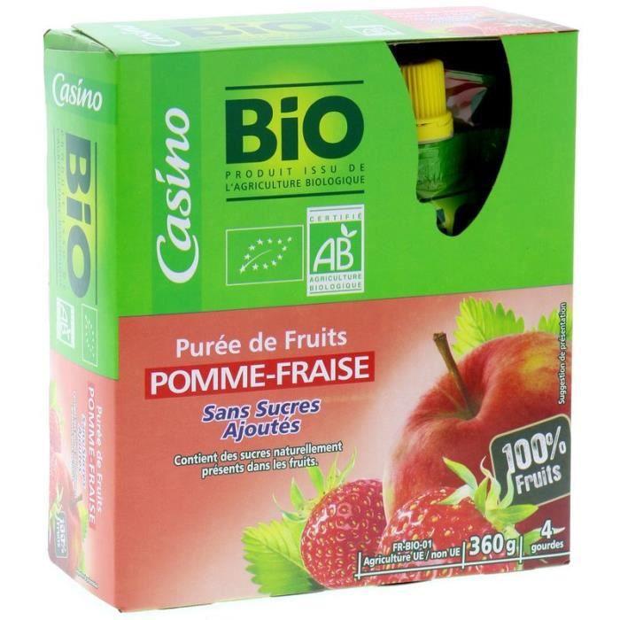 CASINO BIO Gourdes de fruit Pomme fraise - 4x90 g