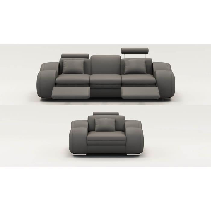 Ensemble canap relax 3 1 places en cuir gris modern for Ensemble salon design