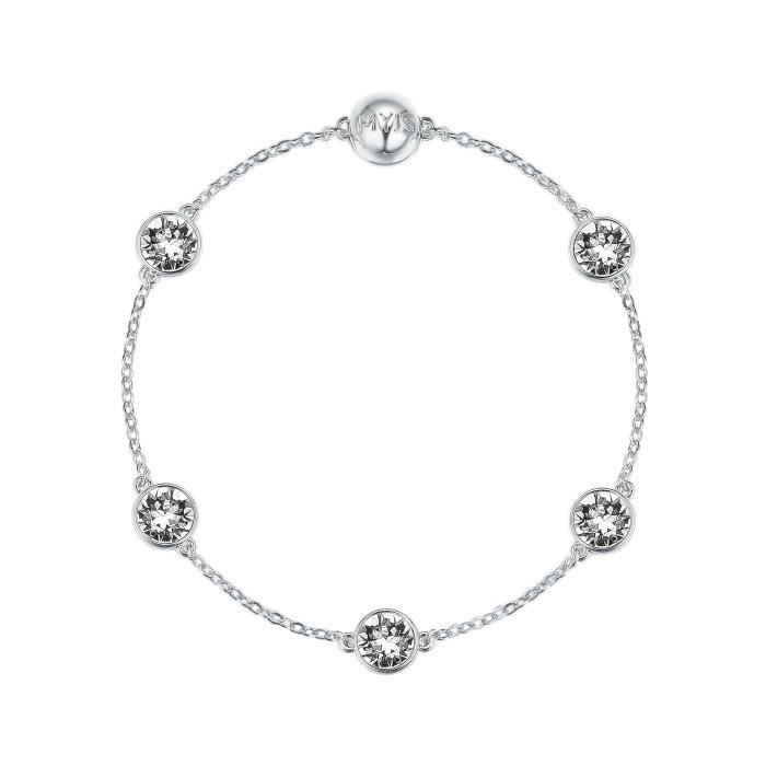 Womens Myjs Remix Collection Timeless With Swarovski Clear Crystals Rhodium Plated YN87S