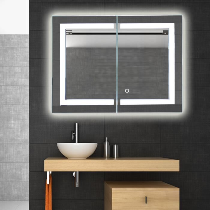 miroir de salle de bain avec casier r tro clair miroir lumineux led blanc froid 24w 600x800mm. Black Bedroom Furniture Sets. Home Design Ideas