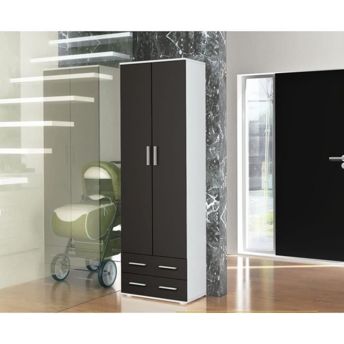 vestiaire penderie d 39 entr e blanc noir mat achat vente meuble d 39 entr e vestiaire penderie d. Black Bedroom Furniture Sets. Home Design Ideas