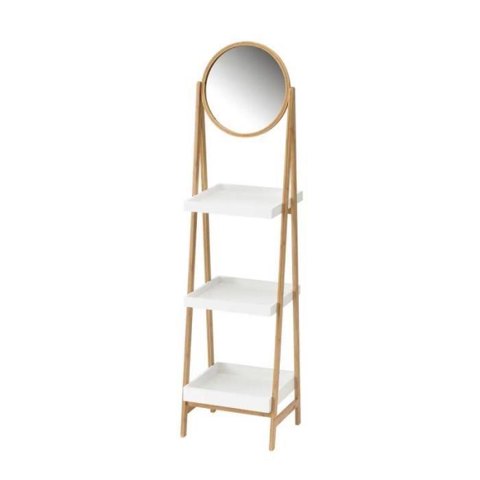 Etagere Salle De Bain Avec Miroir Et 3 Plateaux Blanc Et Bambou 0