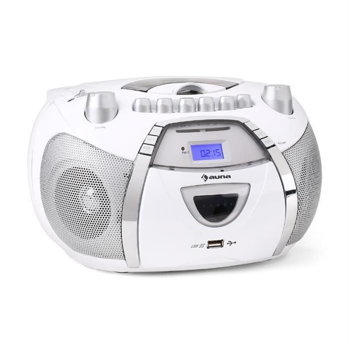 auna beebop poste radio k7 portable avec lecteur cd et port usb mp3 blanc radio cd. Black Bedroom Furniture Sets. Home Design Ideas
