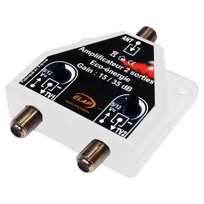 REPETEUR DE SIGNAL Ampli / Répartiteur 2 TV TNT UHF 37 dB auto-alimen
