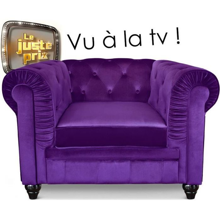 fauteuil chesterfield velours violet achat vente fauteuil cdiscount. Black Bedroom Furniture Sets. Home Design Ideas