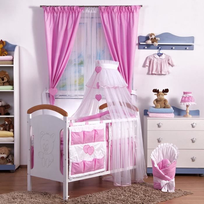parure linge lit b b 9 pcs tour de lit ciel b b rose rose achat vente parure de lit b b. Black Bedroom Furniture Sets. Home Design Ideas