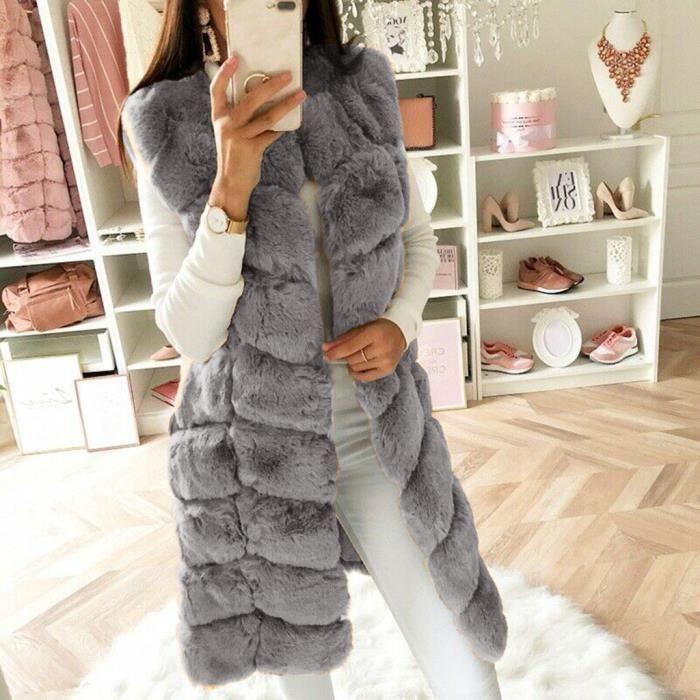 Femmes//fausse fourrure gilet gilet gilet chaud hiver sans manches Veste Manteau Outwear @!