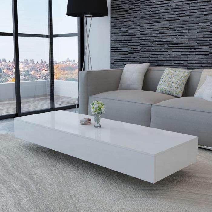 Moderne Table basse Table de Salon pour Maison Haute brillance Blanc 115 x  55 x 31 cm