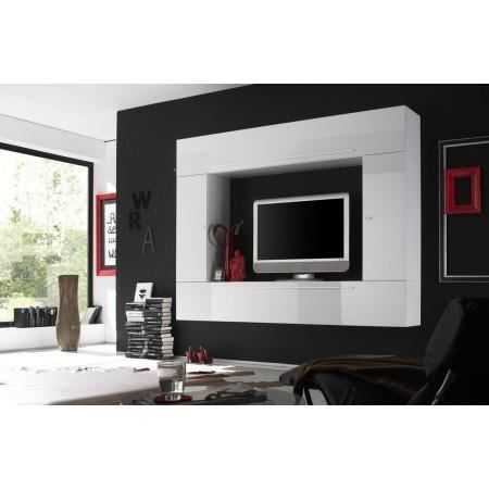 ensemble meuble tv murale blanc laqu cubissimo achat vente meuble tv ensemble meuble tv. Black Bedroom Furniture Sets. Home Design Ideas