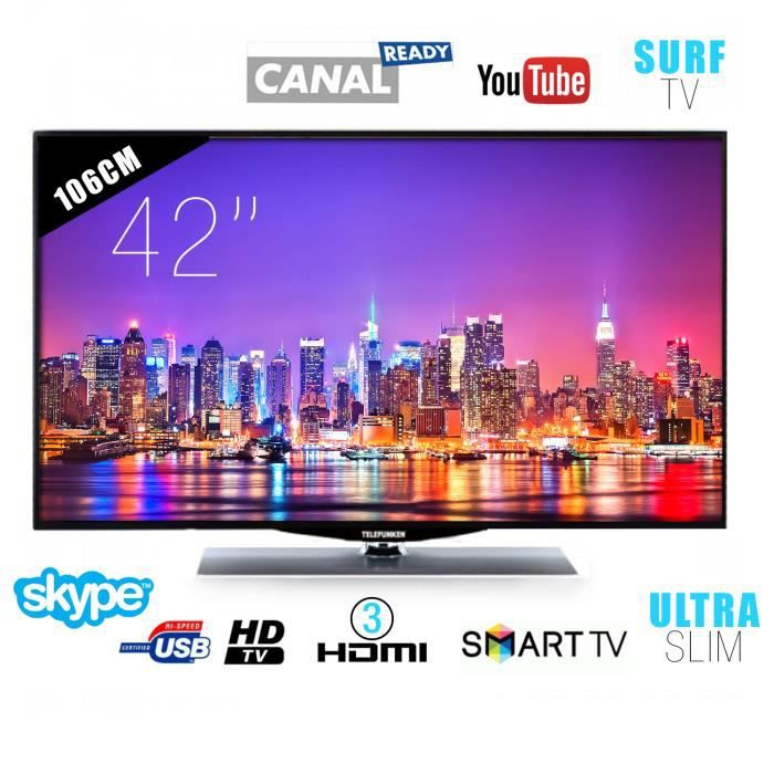 tv led telefunken 106 cm 42 smart tv full hd slim. Black Bedroom Furniture Sets. Home Design Ideas