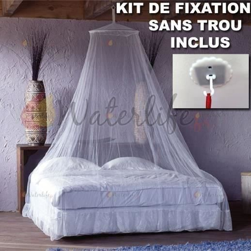 moustiquaire ciel de lit blanche anti moustiques kit de fixation sans trou incluse achat. Black Bedroom Furniture Sets. Home Design Ideas