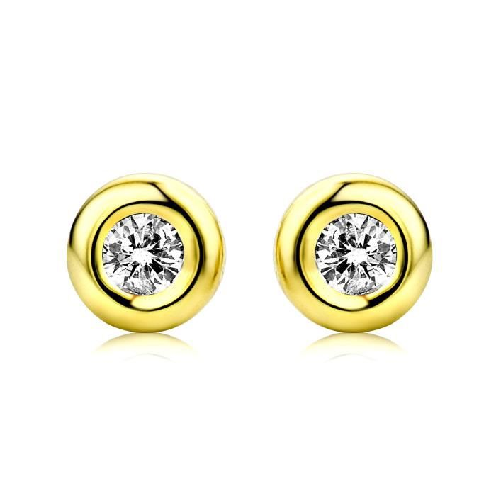 Miore Femmes 9 Ct or jaune Rubover Zircon Boucles doreilles