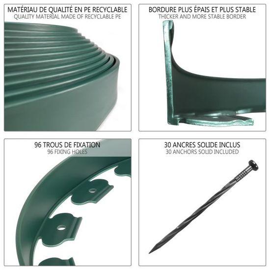Bordure De Jardin En Plastique 10 Mètres Avec 30 Piquets Dancrage Hauteur 50mm Vert