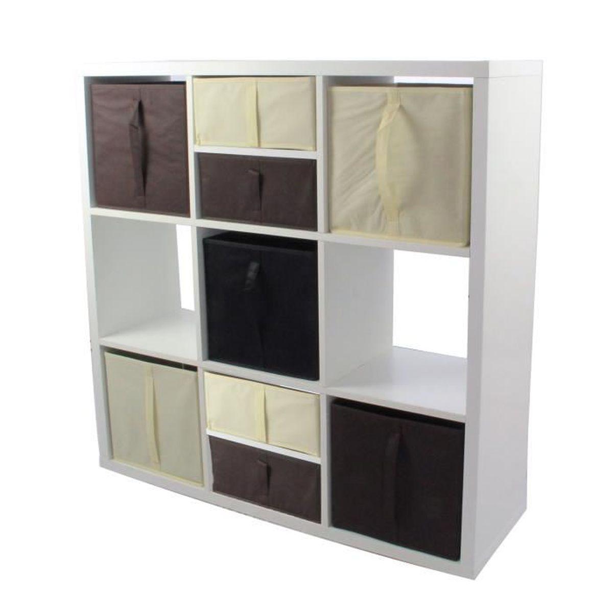 MEUBLE ÉTAGÈRE COMPO Meuble De Rangemet 9 Cases +  5 Cubes + 4 De