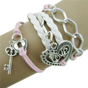 BRACELET - GOURMETTE MO-1637 Infinity Amour Heart Key Lock Friendship A