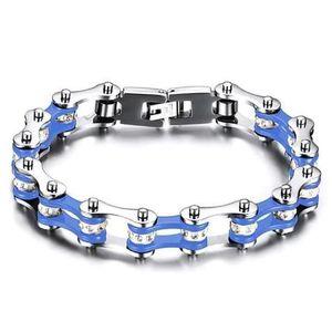BOBIJOO JEWELRY Bracelet Homme Acier Inoxydable Chaine de Moto V/élo Silicone Bleu Motard Biker