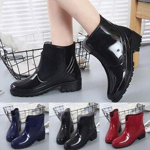 Coréen Femme À Enfiler Imperméable Cheville Bottes de pluie Flats Antidérapage Chaussures De Loisirs Taille