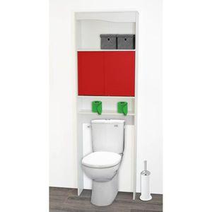 ARMOIRE DE TOILETTE Meuble WC rouge en bois avec 2 portes coulissantes