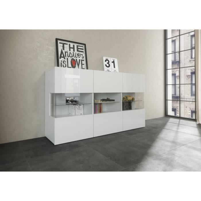 new kiss buffet 150cm laqu blanc achat vente buffet bahut kiss buffet blanc bois. Black Bedroom Furniture Sets. Home Design Ideas