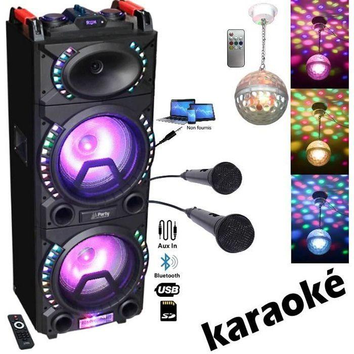 ENCEINTE SONO PARTY-STUP210 Bluetooth Usb MP3 + 2 Micros + Câble PC + ASTRO BALL8 PA dj mix soirée anniversaire mariage KARAOKE