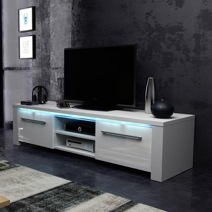 Meuble TV / Meuble salon - MESSA - 140 cm - blanc mat / blanc brillant - avec LED bleue - style moderne - très fonctionnel